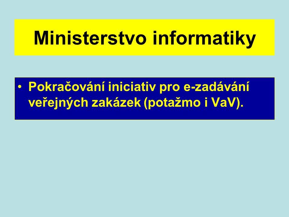 Ministerstvo informatiky Pokračování iniciativ pro e-zadávání veřejných zakázek (potažmo i VaV).