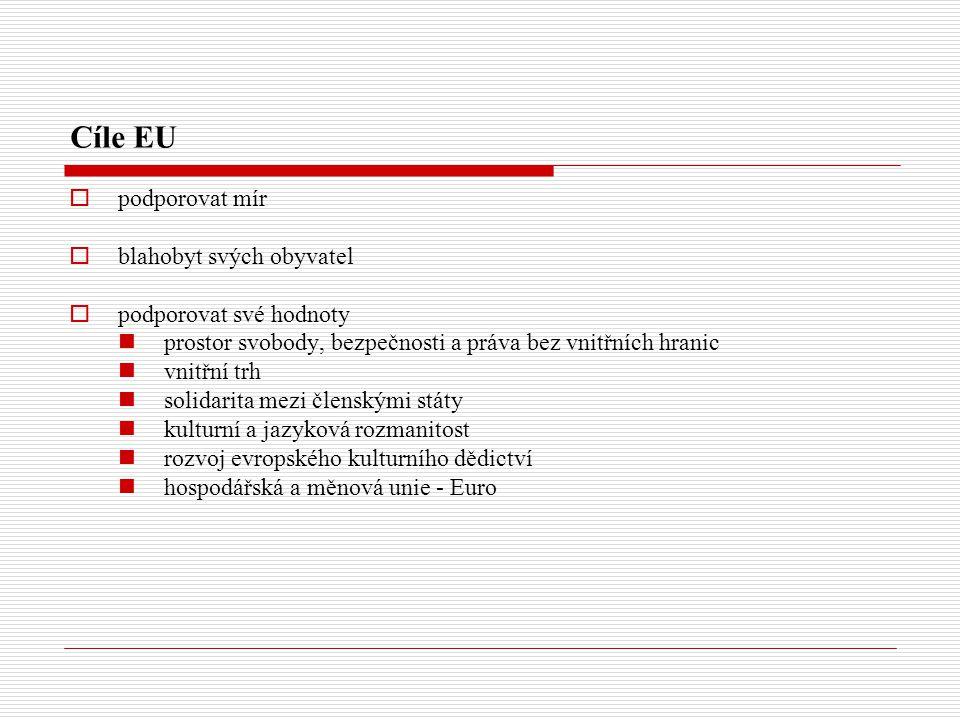 Cíle EU  podporovat mír  blahobyt svých obyvatel  podporovat své hodnoty prostor svobody, bezpečnosti a práva bez vnitřních hranic vnitřní trh solidarita mezi členskými státy kulturní a jazyková rozmanitost rozvoj evropského kulturního dědictví hospodářská a měnová unie - Euro