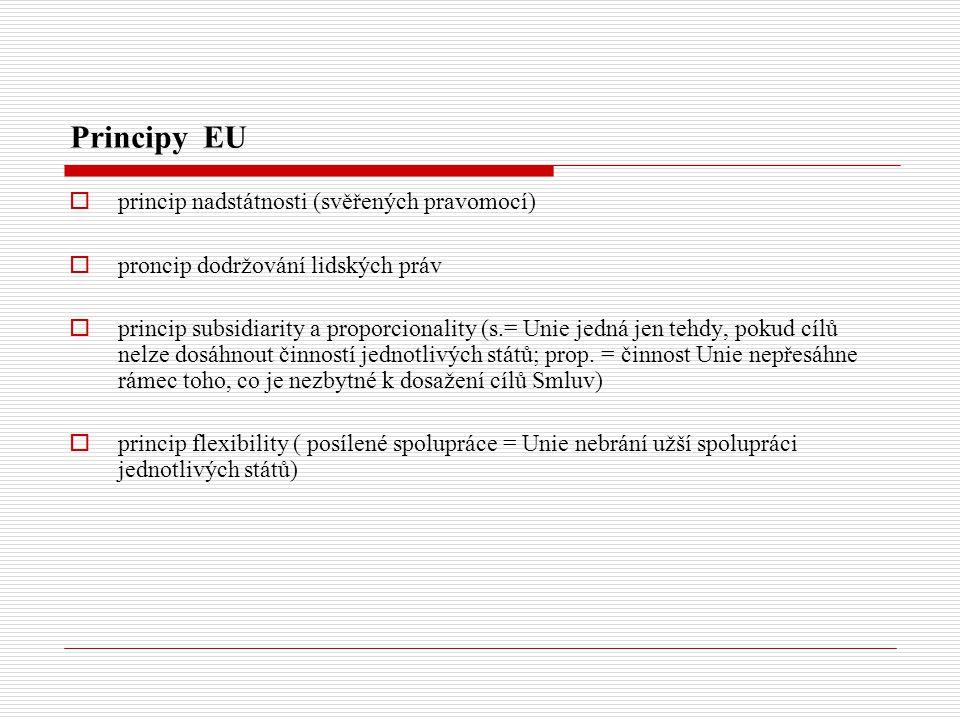 Principy EU  princip nadstátnosti (svěřených pravomocí)  proncip dodržování lidských práv  princip subsidiarity a proporcionality (s.= Unie jedná jen tehdy, pokud cílů nelze dosáhnout činností jednotlivých států; prop.
