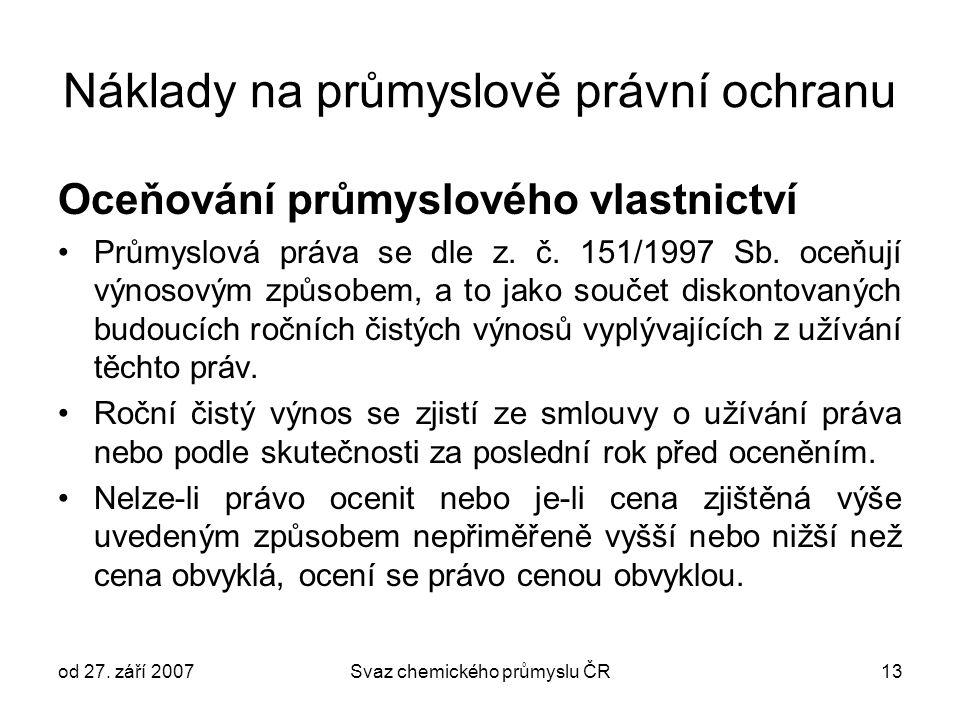 od 27. září 2007Svaz chemického průmyslu ČR13 Náklady na průmyslově právní ochranu Oceňování průmyslového vlastnictví Průmyslová práva se dle z. č. 15
