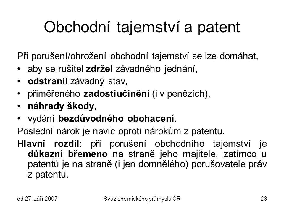 od 27. září 2007Svaz chemického průmyslu ČR23 Obchodní tajemství a patent Při porušení/ohrožení obchodní tajemství se lze domáhat, aby se rušitel zdrž