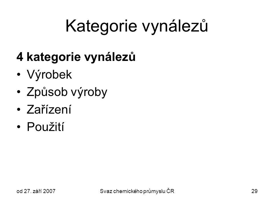 od 27. září 2007Svaz chemického průmyslu ČR29 Kategorie vynálezů 4 kategorie vynálezů Výrobek Způsob výroby Zařízení Použití