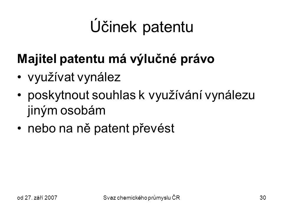 od 27. září 2007Svaz chemického průmyslu ČR30 Účinek patentu Majitel patentu má výlučné právo využívat vynález poskytnout souhlas k využívání vynálezu