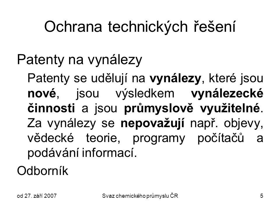 od 27. září 2007Svaz chemického průmyslu ČR5 Ochrana technických řešení Patenty na vynálezy Patenty se udělují na vynálezy, které jsou nové, jsou výsl