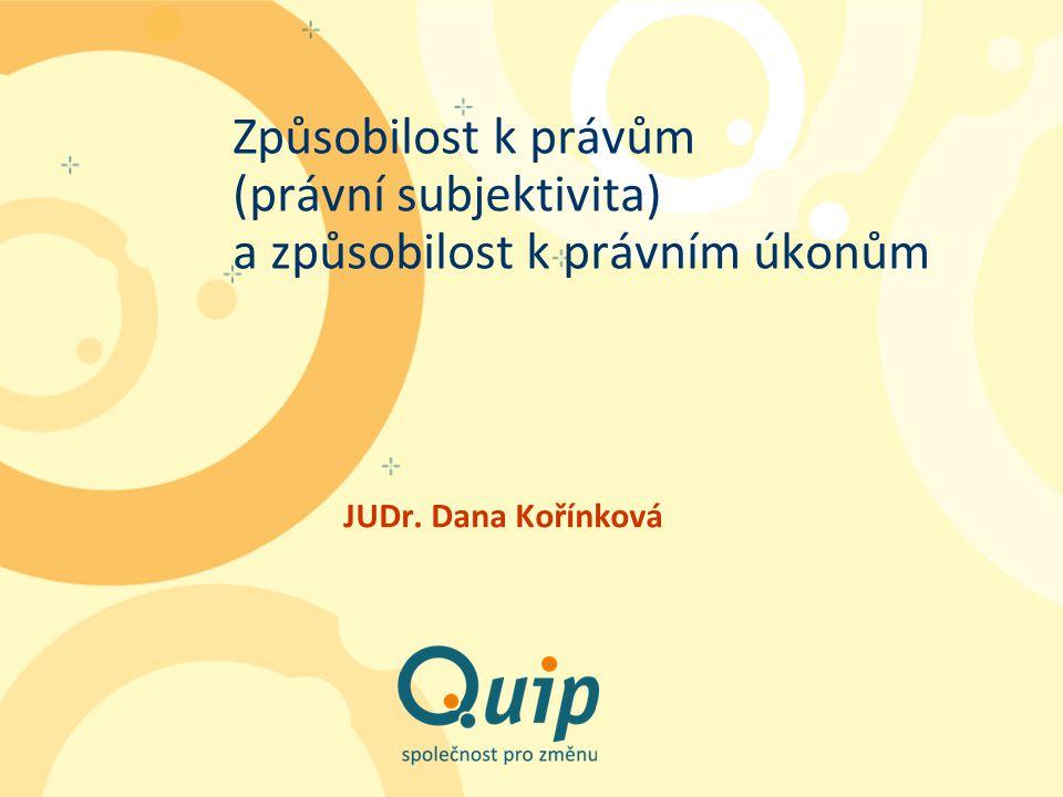 Způsobilost k právům (právní subjektivita) a způsobilost k právním úkonům JUDr. Dana Kořínková