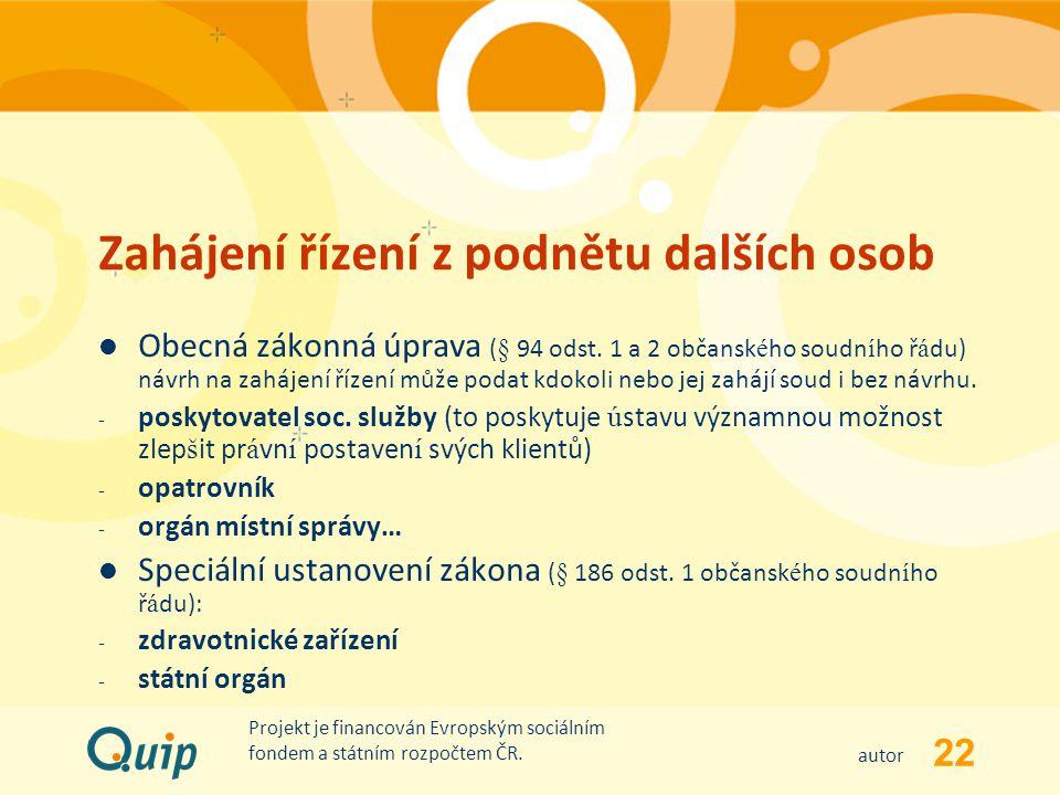 22 autor Projekt je financován Evropským sociálním fondem a státním rozpočtem ČR. Zahájení řízení z podnětu dalších osob Obecná zákonná úprava (§ 94 o