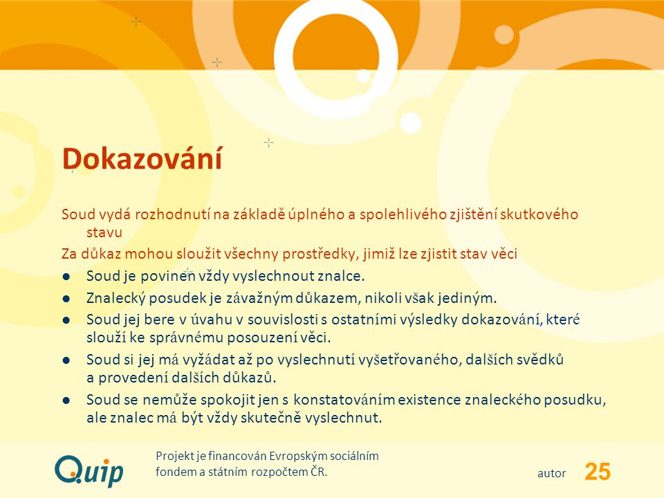 25 autor Projekt je financován Evropským sociálním fondem a státním rozpočtem ČR. Dokazování Soud vydá rozhodnutí na základě úplného a spolehlivého zj