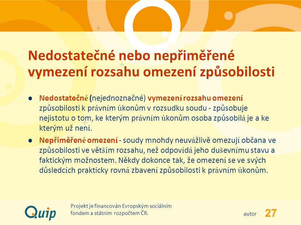 27 autor Projekt je financován Evropským sociálním fondem a státním rozpočtem ČR. Nedostatečné nebo nepřiměřené vymezení rozsahu omezení způsobilosti