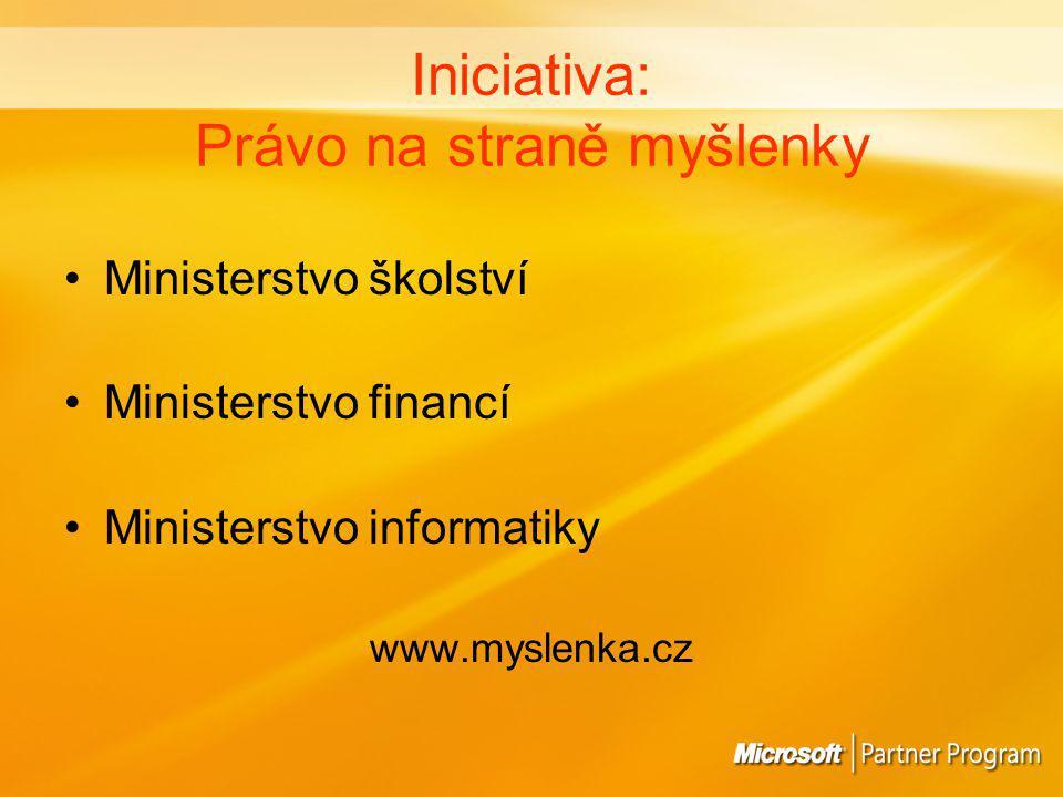 Iniciativa: Právo na straně myšlenky Ministerstvo školství Ministerstvo financí Ministerstvo informatiky www.myslenka.cz