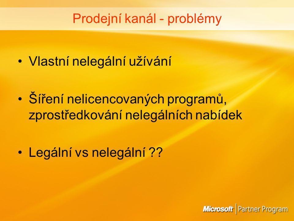 Prodejní kanál - problémy Vlastní nelegální užívání Šíření nelicencovaných programů, zprostředkování nelegálních nabídek Legální vs nelegální