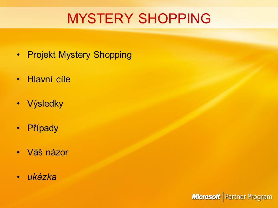 MYSTERY SHOPPING Projekt Mystery Shopping Hlavní cíle Výsledky Případy Váš názor ukázka