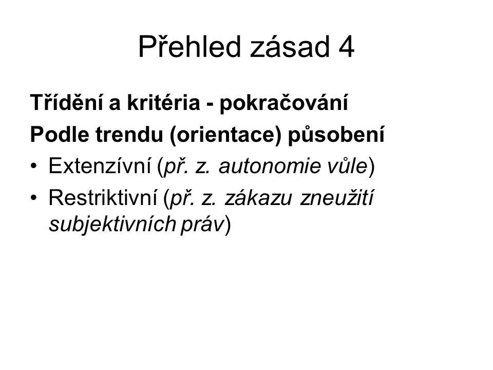 Přehled zásad 5 Jednotlivé zásady Zásada individuální autonomie – autonomie vůle Vše je dovoleno, co není výslovně zakázáno Zásada dispozitivnosti Zásada demokratismu soukromého práva