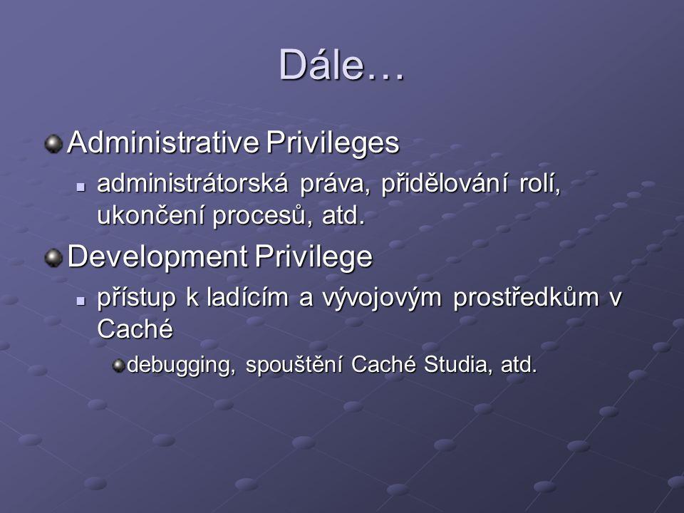 Dále… Administrative Privileges administrátorská práva, přidělování rolí, ukončení procesů, atd. administrátorská práva, přidělování rolí, ukončení pr