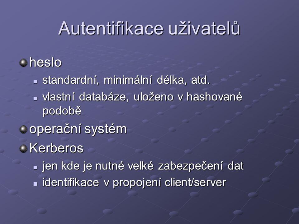 Autentifikace uživatelů heslo standardní, minimální délka, atd. standardní, minimální délka, atd. vlastní databáze, uloženo v hashované podobě vlastní