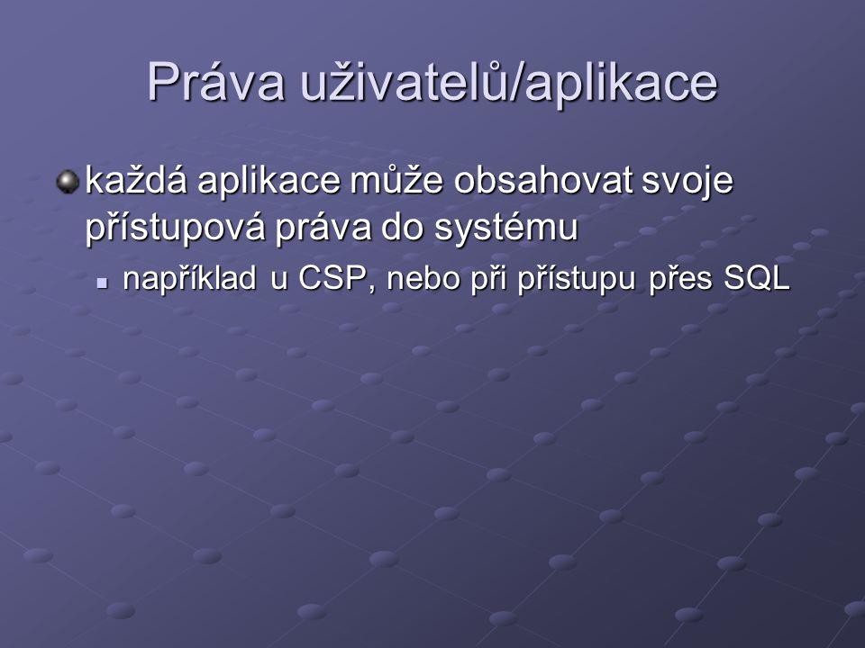Práva uživatelů/aplikace každá aplikace může obsahovat svoje přístupová práva do systému například u CSP, nebo při přístupu přes SQL například u CSP,