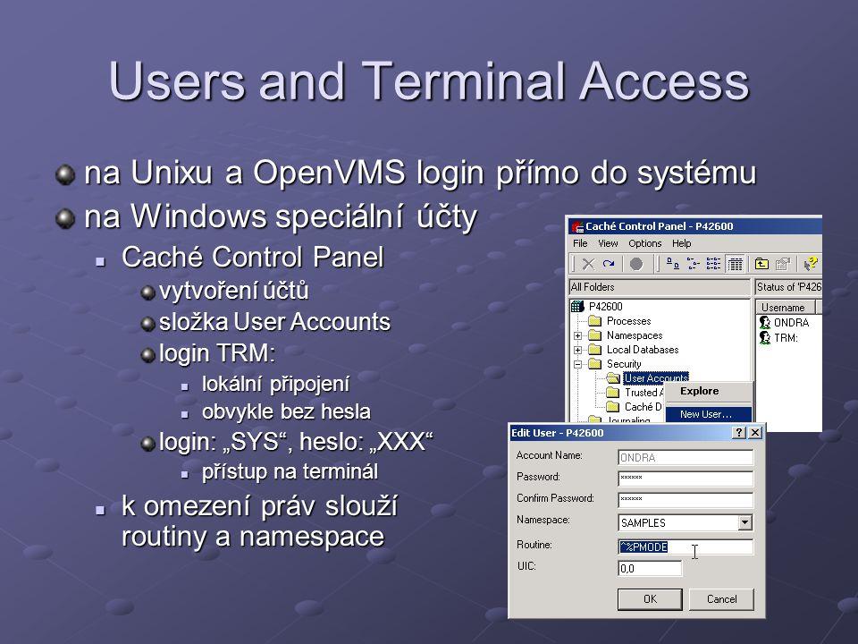 Users and Terminal Access na Unixu a OpenVMS login přímo do systému na Windows speciální účty Caché Control Panel Caché Control Panel vytvoření účtů s