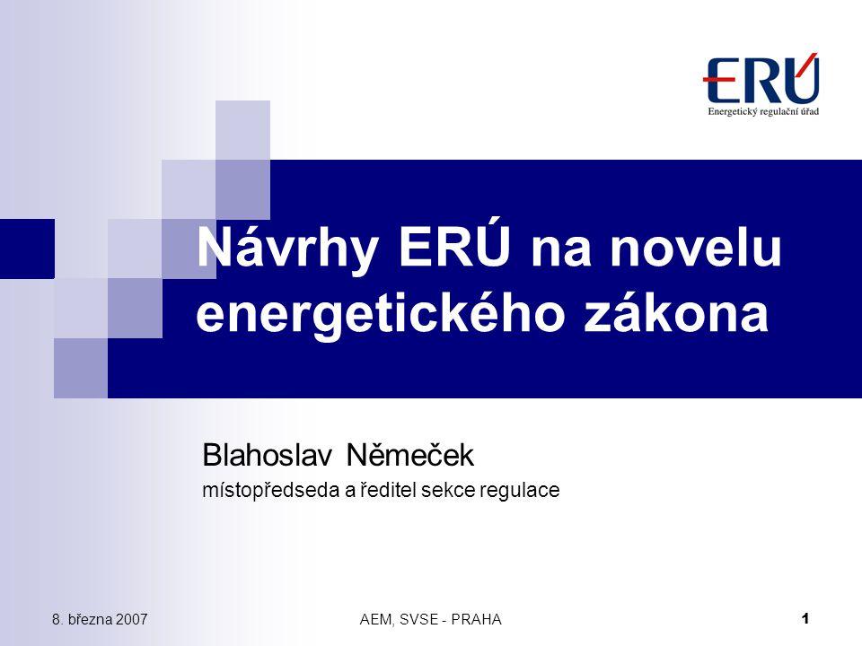 8. března 2007AEM, SVSE - PRAHA 1 Návrhy ERÚ na novelu energetického zákona Blahoslav Němeček místopředseda a ředitel sekce regulace