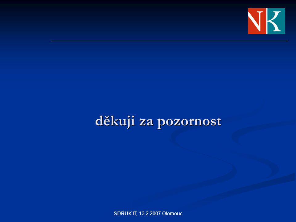 SDRUK IT, 13.2.2007 Olomouc děkuji za pozornost