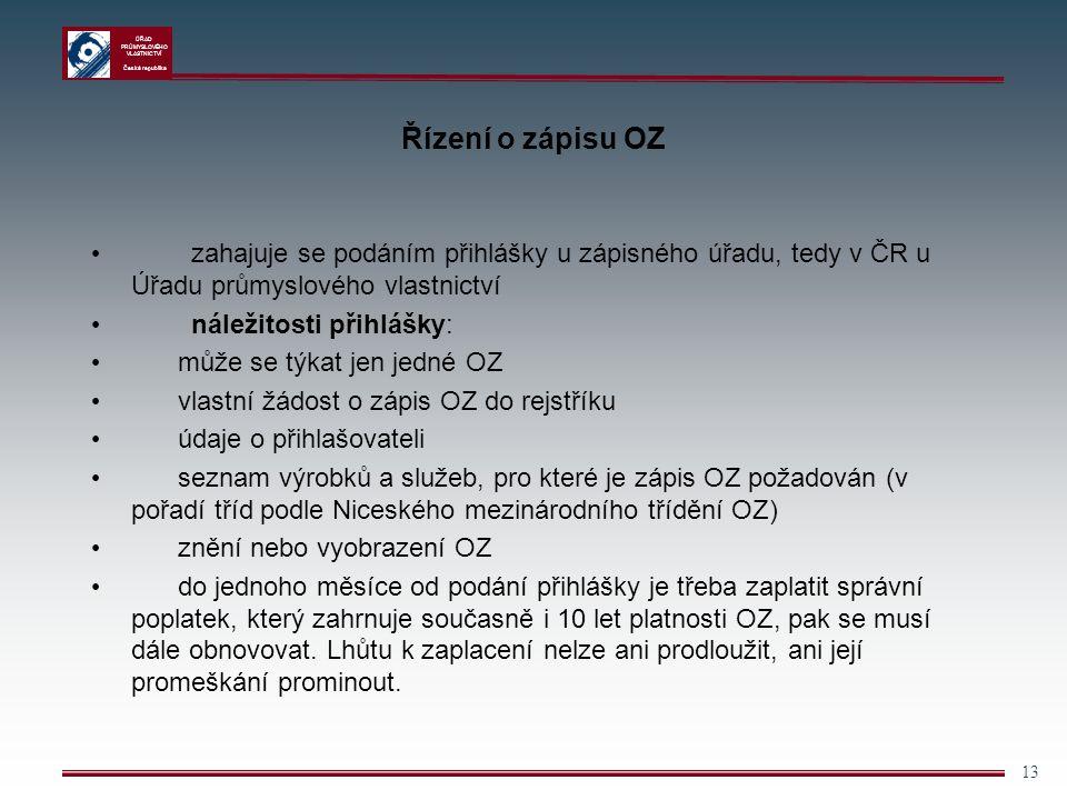 ÚŘAD PRŮMYSLOVÉHO VLASTNICTVÍ Česká republika 13 Řízení o zápisu OZ zahajuje se podáním přihlášky u zápisného úřadu, tedy v ČR u Úřadu průmyslového vl