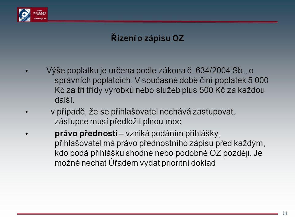 ÚŘAD PRŮMYSLOVÉHO VLASTNICTVÍ Česká republika 14 Řízení o zápisu OZ Výše poplatku je určena podle zákona č. 634/2004 Sb., o správních poplatcích. V so