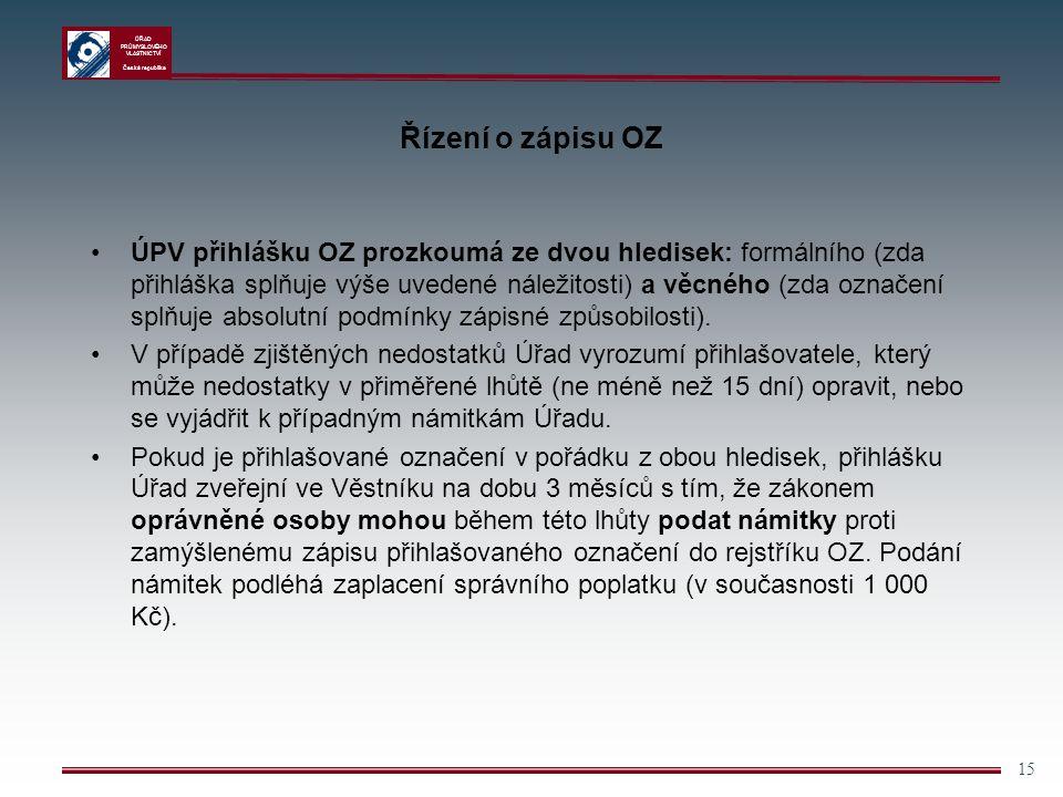 ÚŘAD PRŮMYSLOVÉHO VLASTNICTVÍ Česká republika 15 Řízení o zápisu OZ ÚPV přihlášku OZ prozkoumá ze dvou hledisek: formálního (zda přihláška splňuje výš