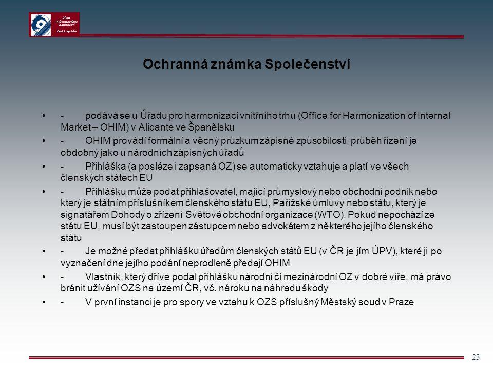 ÚŘAD PRŮMYSLOVÉHO VLASTNICTVÍ Česká republika 23 Ochranná známka Společenství - podává se u Úřadu pro harmonizaci vnitřního trhu (Office for Harmoniza