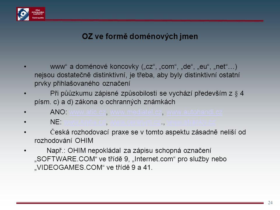 """ÚŘAD PRŮMYSLOVÉHO VLASTNICTVÍ Česká republika 24 OZ ve formě doménových jmen www"""" a doménové koncovky (""""cz"""", """"com"""", """"de"""", """"eu"""", """"net""""…) nejsou dostate"""