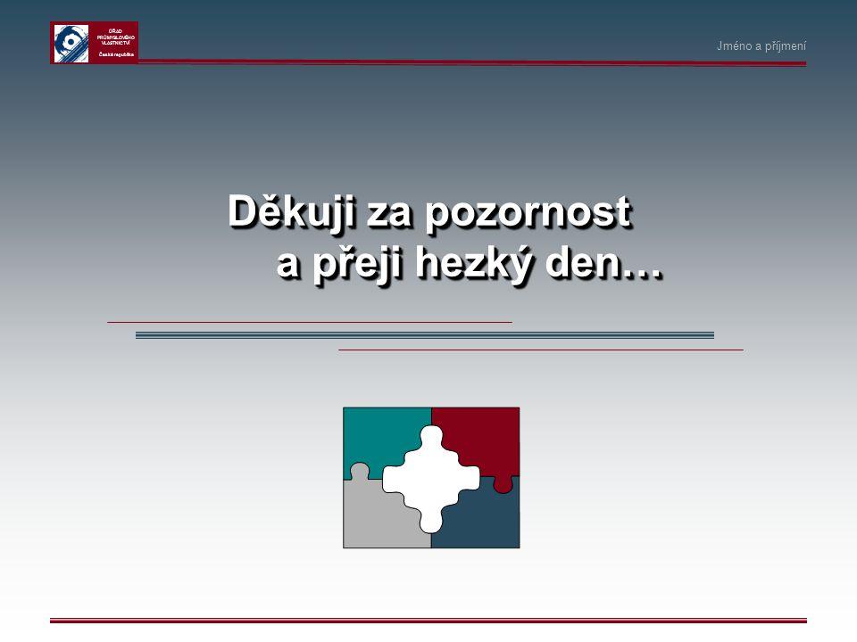 ÚŘAD PRŮMYSLOVÉHO VLASTNICTVÍ Česká republika Děkuji za pozornost a přeji hezký den… Jméno a příjmení