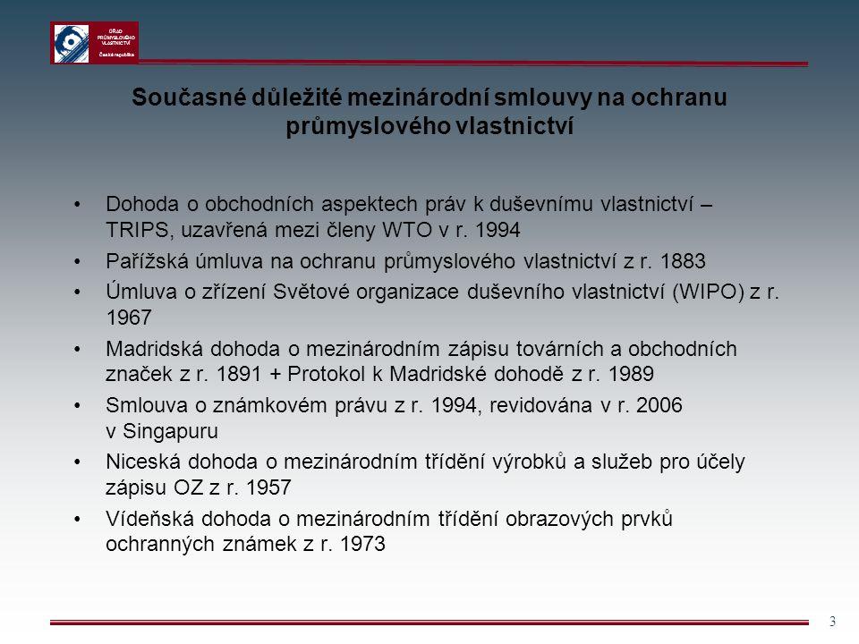ÚŘAD PRŮMYSLOVÉHO VLASTNICTVÍ Česká republika 3 Současné důležité mezinárodní smlouvy na ochranu průmyslového vlastnictví Dohoda o obchodních aspektec