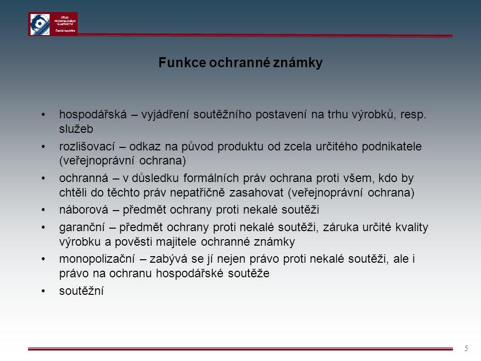 ÚŘAD PRŮMYSLOVÉHO VLASTNICTVÍ Česká republika 5 Funkce ochranné známky hospodářská – vyjádření soutěžního postavení na trhu výrobků, resp. služeb rozl