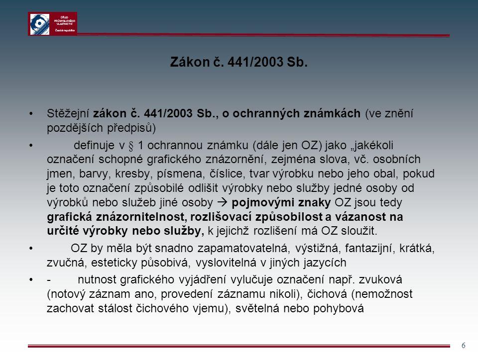 ÚŘAD PRŮMYSLOVÉHO VLASTNICTVÍ Česká republika 6 Zákon č. 441/2003 Sb. Stěžejní zákon č. 441/2003 Sb., o ochranných známkách (ve znění pozdějších předp