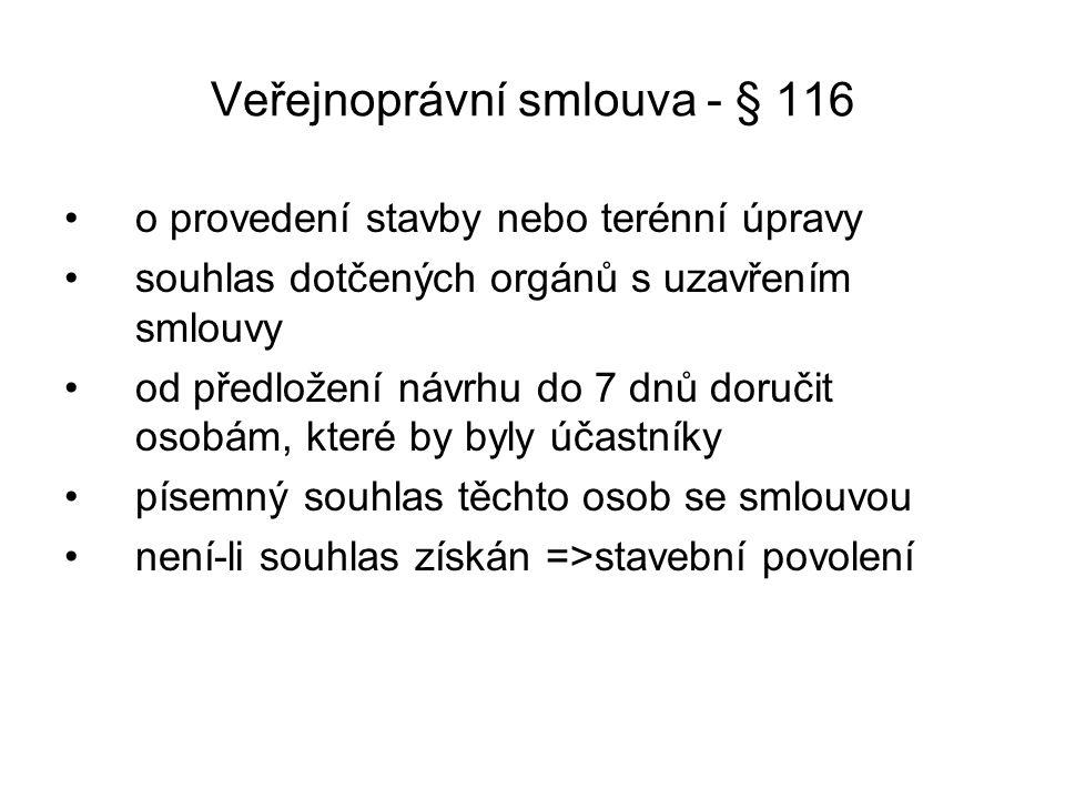 Veřejnoprávní smlouva - § 116 o provedení stavby nebo terénní úpravy souhlas dotčených orgánů s uzavřením smlouvy od předložení návrhu do 7 dnů doruči