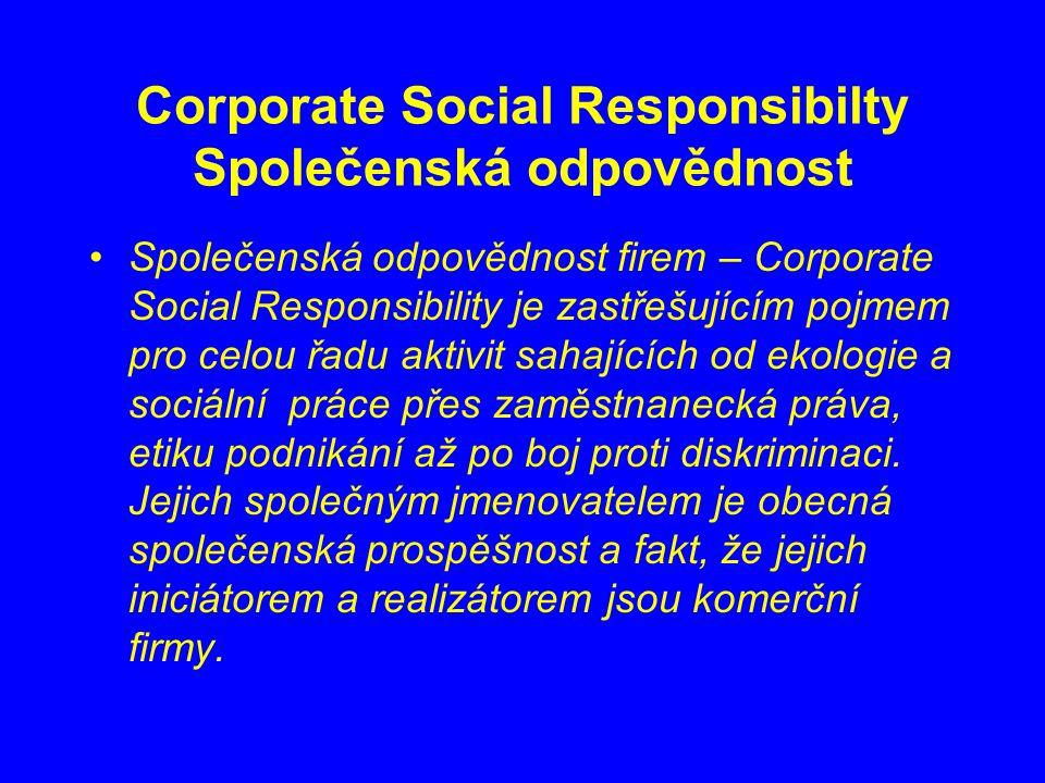 Corporate Social Responsibilty Společenská odpovědnost Společenská odpovědnost firem – Corporate Social Responsibility je zastřešujícím pojmem pro celou řadu aktivit sahajících od ekologie a sociální práce přes zaměstnanecká práva, etiku podnikání až po boj proti diskriminaci.