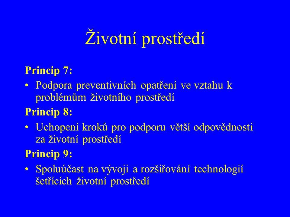 Životní prostředí Princip 7: Podpora preventivních opatření ve vztahu k problémům životního prostředí Princip 8: Uchopení kroků pro podporu větší odpovědnosti za životní prostředí Princip 9: Spoluúčast na vývoji a rozšiřování technologií šetřících životní prostředí