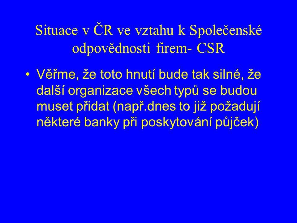 Situace v ČR ve vztahu k Společenské odpovědnosti firem- CSR Věřme, že toto hnutí bude tak silné, že další organizace všech typů se budou muset přidat (např.dnes to již požadují některé banky při poskytování půjček)
