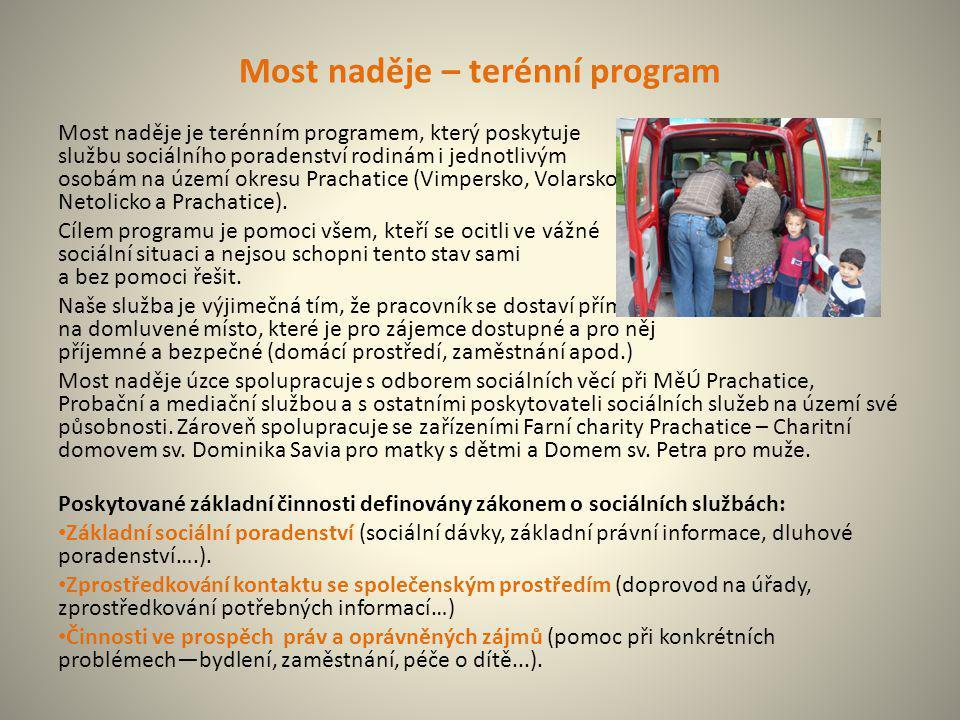 Most naděje – terénní program Most naděje je terénním programem, který poskytuje službu sociálního poradenství rodinám i jednotlivým osobám na území o