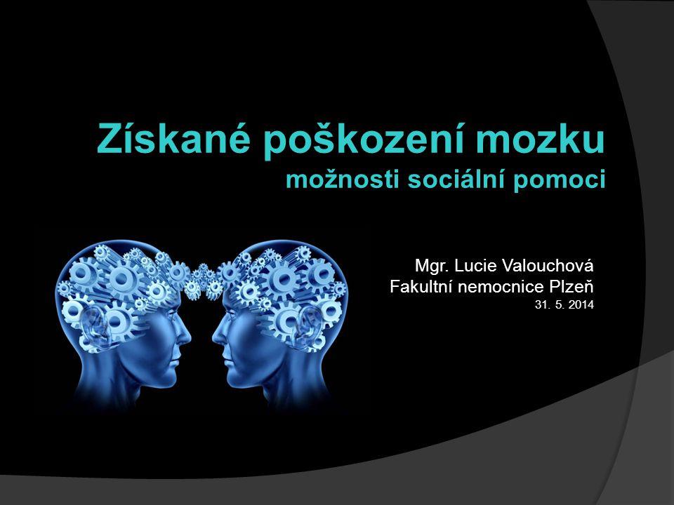 Mgr. Lucie Valouchová Fakultní nemocnice Plzeň 31. 5. 2014 Získané poškození mozku možnosti sociální pomoci