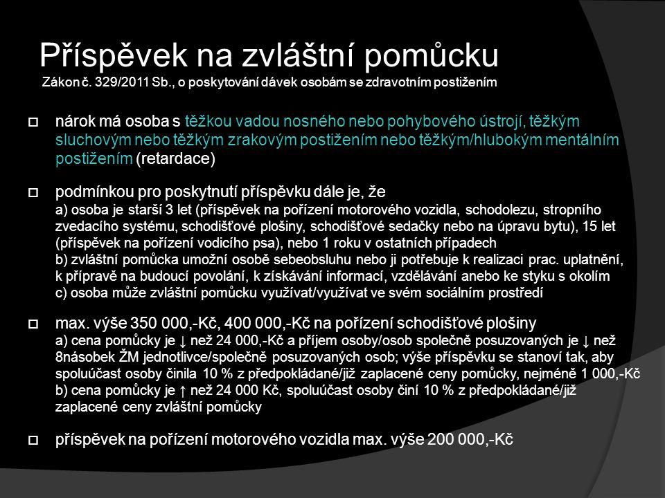 Příspěvek na zvláštní pomůcku Zákon č.