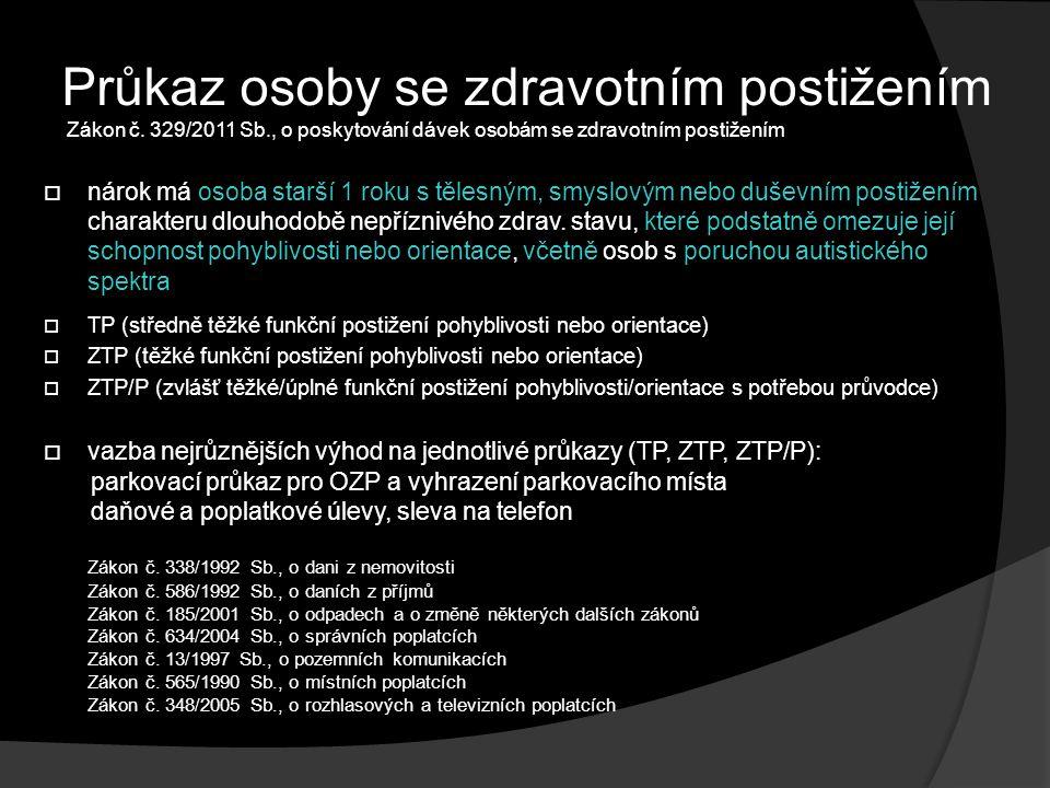 Průkaz osoby se zdravotním postižením Zákon č.