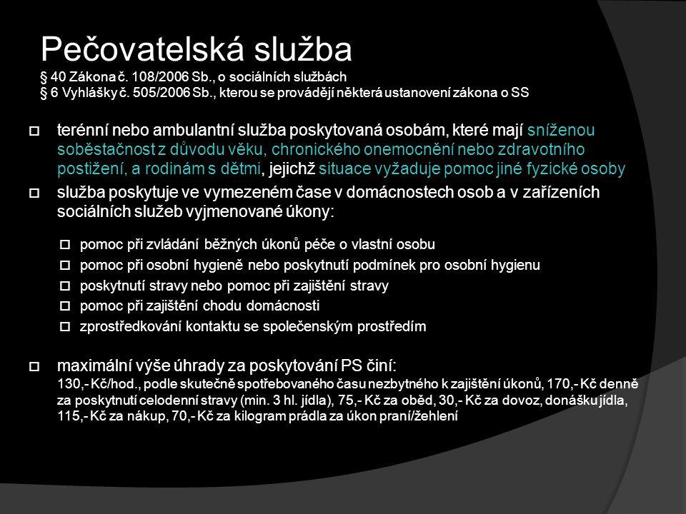 Pečovatelská služba § 40 Zákona č.108/2006 Sb., o sociálních službách § 6 Vyhlášky č.