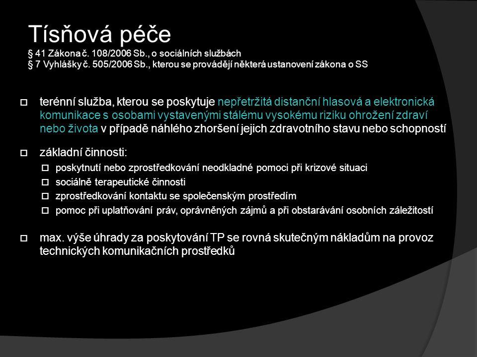 Tísňová péče § 41 Zákona č.108/2006 Sb., o sociálních službách § 7 Vyhlášky č.