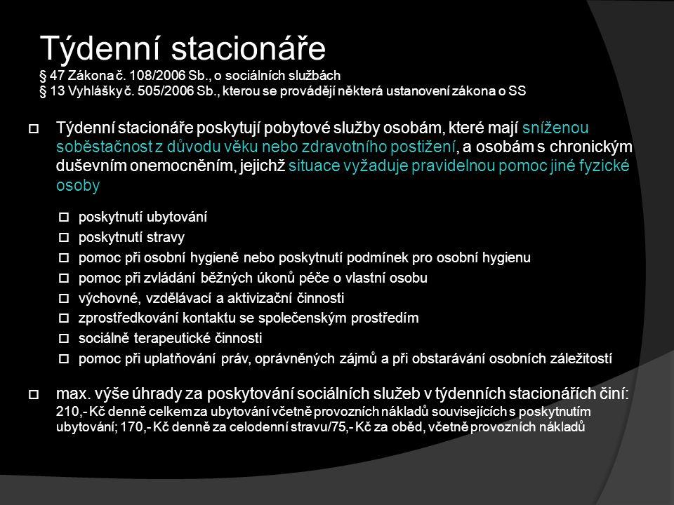 Týdenní stacionáře § 47 Zákona č.108/2006 Sb., o sociálních službách § 13 Vyhlášky č.