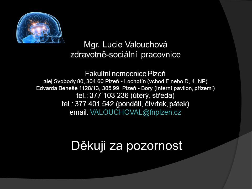 Mgr. Lucie Valouchová zdravotně-sociální pracovnice Fakultní nemocnice Plzeň alej Svobody 80, 304 60 Plzeň - Lochotín (vchod F nebo D, 4. NP) Edvarda