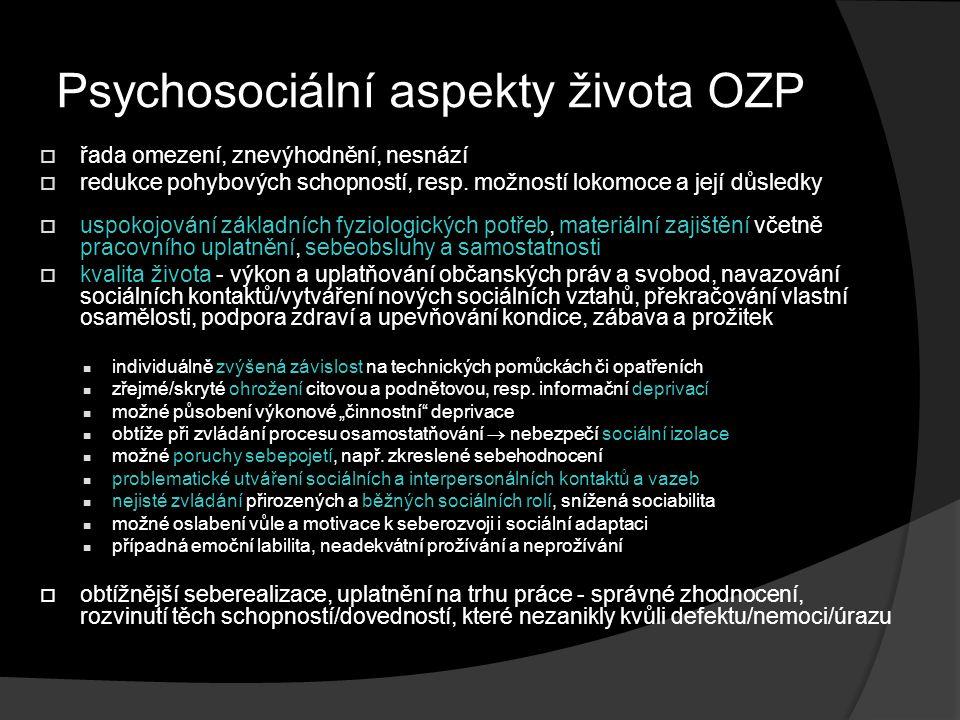Psychosociální aspekty života OZP  řada omezení, znevýhodnění, nesnází  redukce pohybových schopností, resp. možností lokomoce a její důsledky  usp