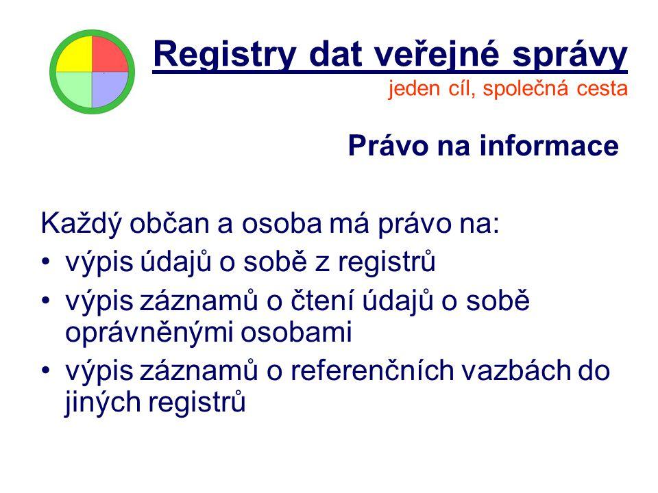 Právo na informace Každý občan a osoba má právo na: výpis údajů o sobě z registrů výpis záznamů o čtení údajů o sobě oprávněnými osobami výpis záznamů