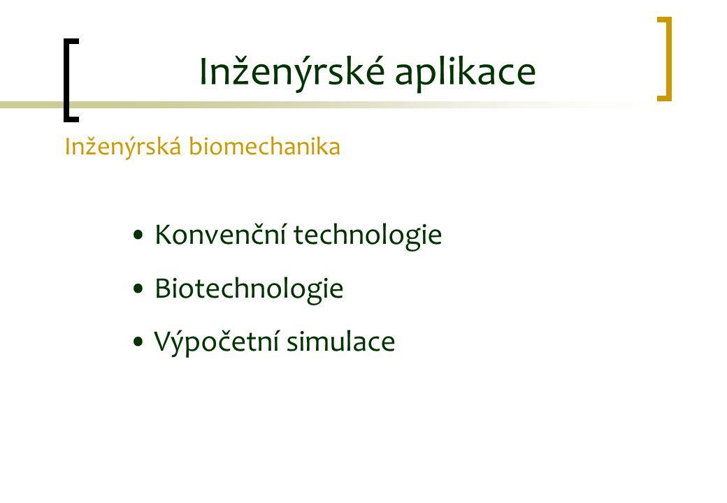 Inženýrské aplikace Inženýrská biomechanika Konvenční technologie Biotechnologie Výpočetní simulace