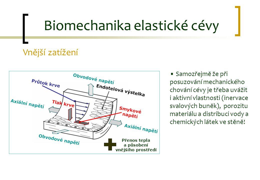 Vnější zatížení Přenos tepla a působení vnějšího prostředí Biomechanika elastické cévy Samozřejmě že při posuzování mechanického chování cévy je třeba