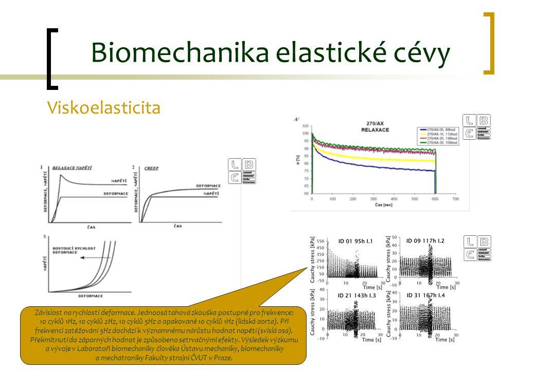 Viskoelasticita Biomechanika elastické cévy Závislost na rychlosti deformace. Jednoosá tahová zkouška postupně pro frekvence: 10 cyklů 1Hz, 10 cyklů 2