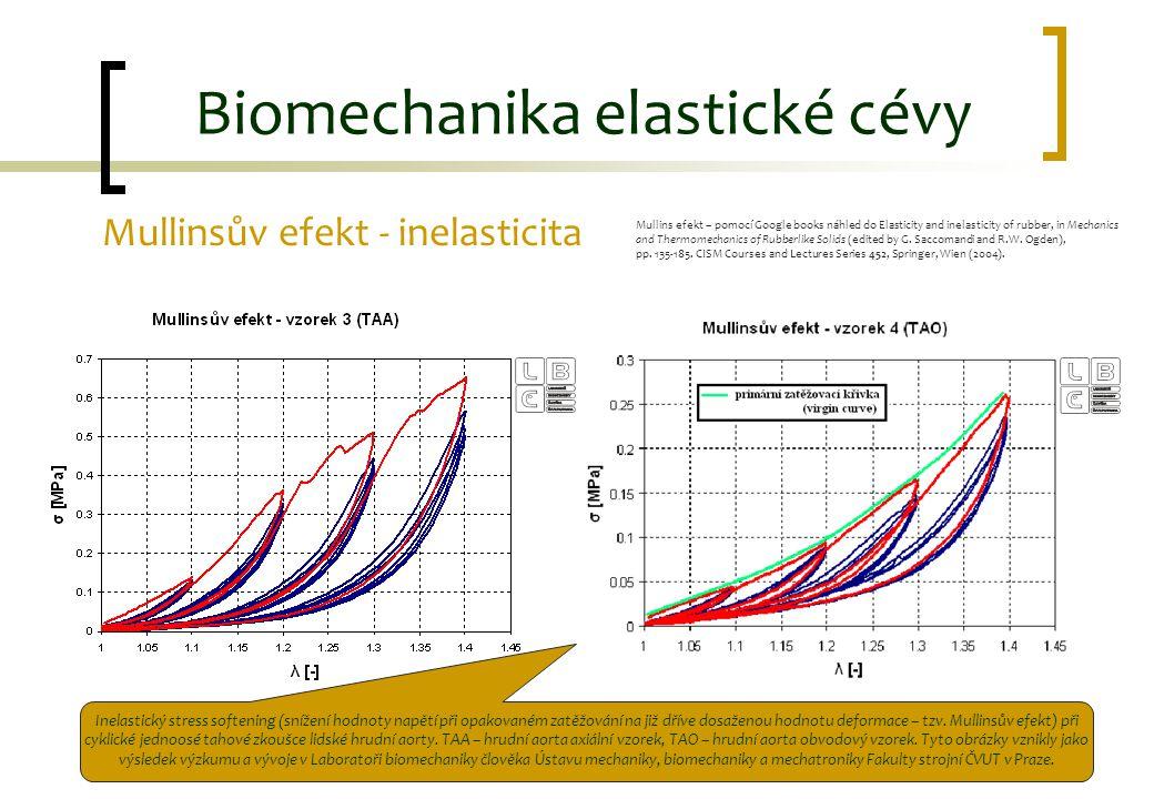 Mullinsův efekt - inelasticita Biomechanika elastické cévy Inelastický stress softening (snížení hodnoty napětí při opakovaném zatěžování na již dříve