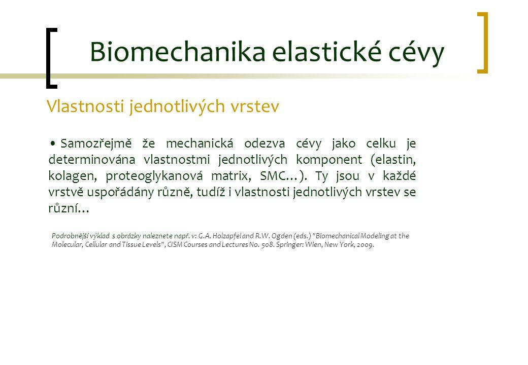 Biomechanika elastické cévy Vlastnosti jednotlivých vrstev Samozřejmě že mechanická odezva cévy jako celku je determinována vlastnostmi jednotlivých k